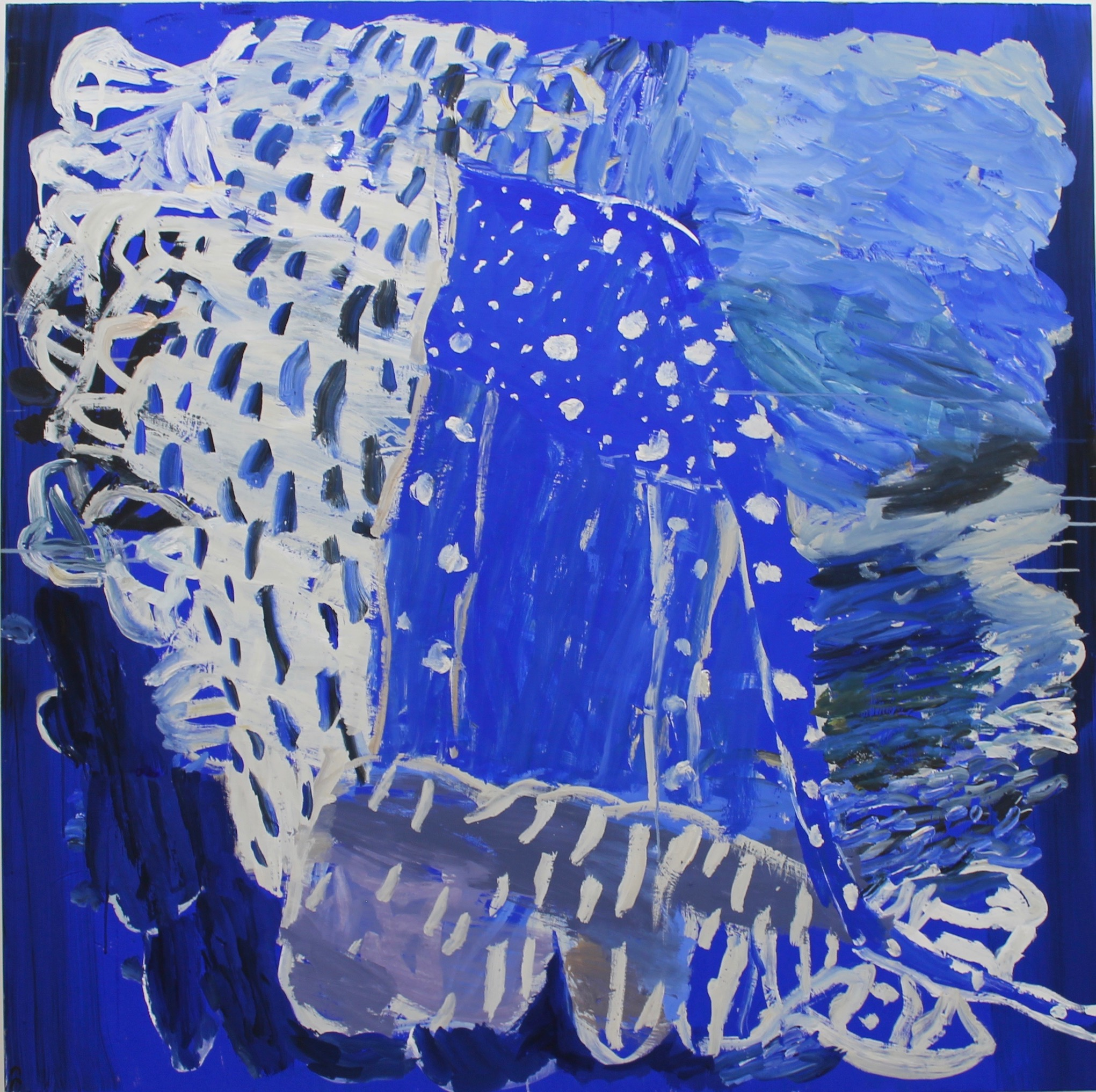 2. Some Rain at Sea 152x152cm synthetic polymers enamel canvas 2020 by Catherine Cassidy