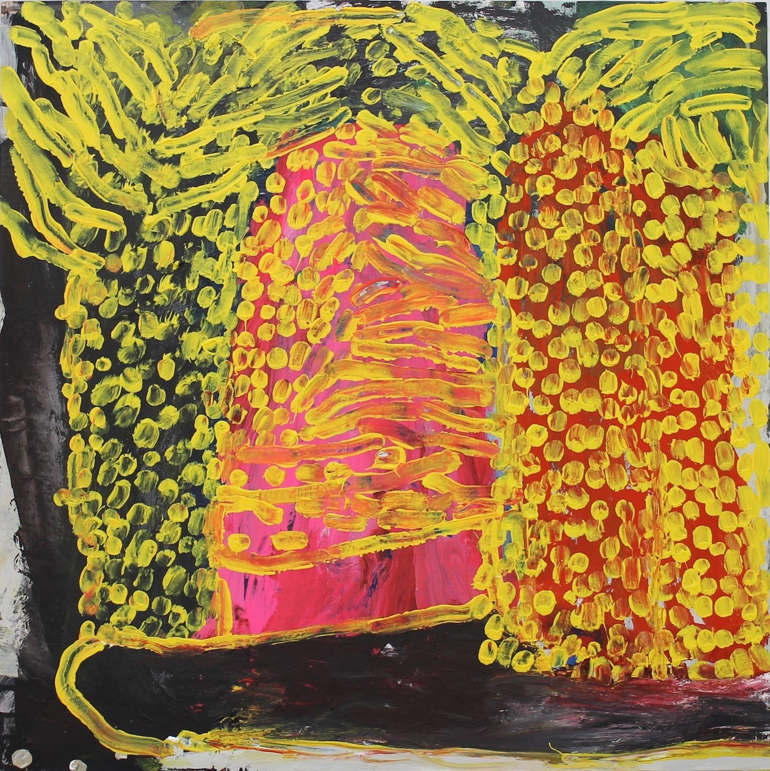 2. Neon palm 2 60x60cm vinyl birch panel by Catherine Cassidy