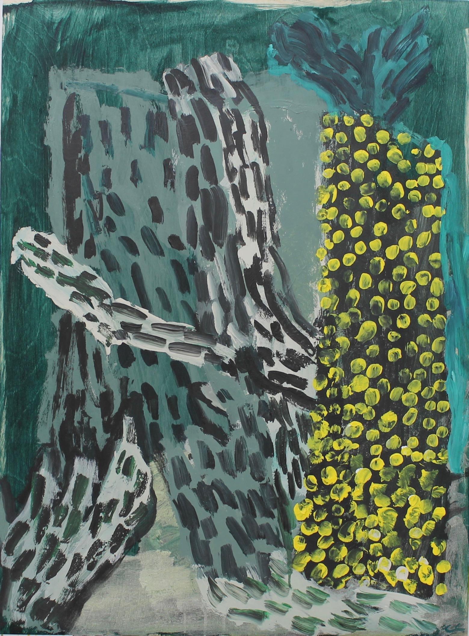 5. Neon palm 1 h76xw56cm vinyl birch panel by Catherine Cassidy