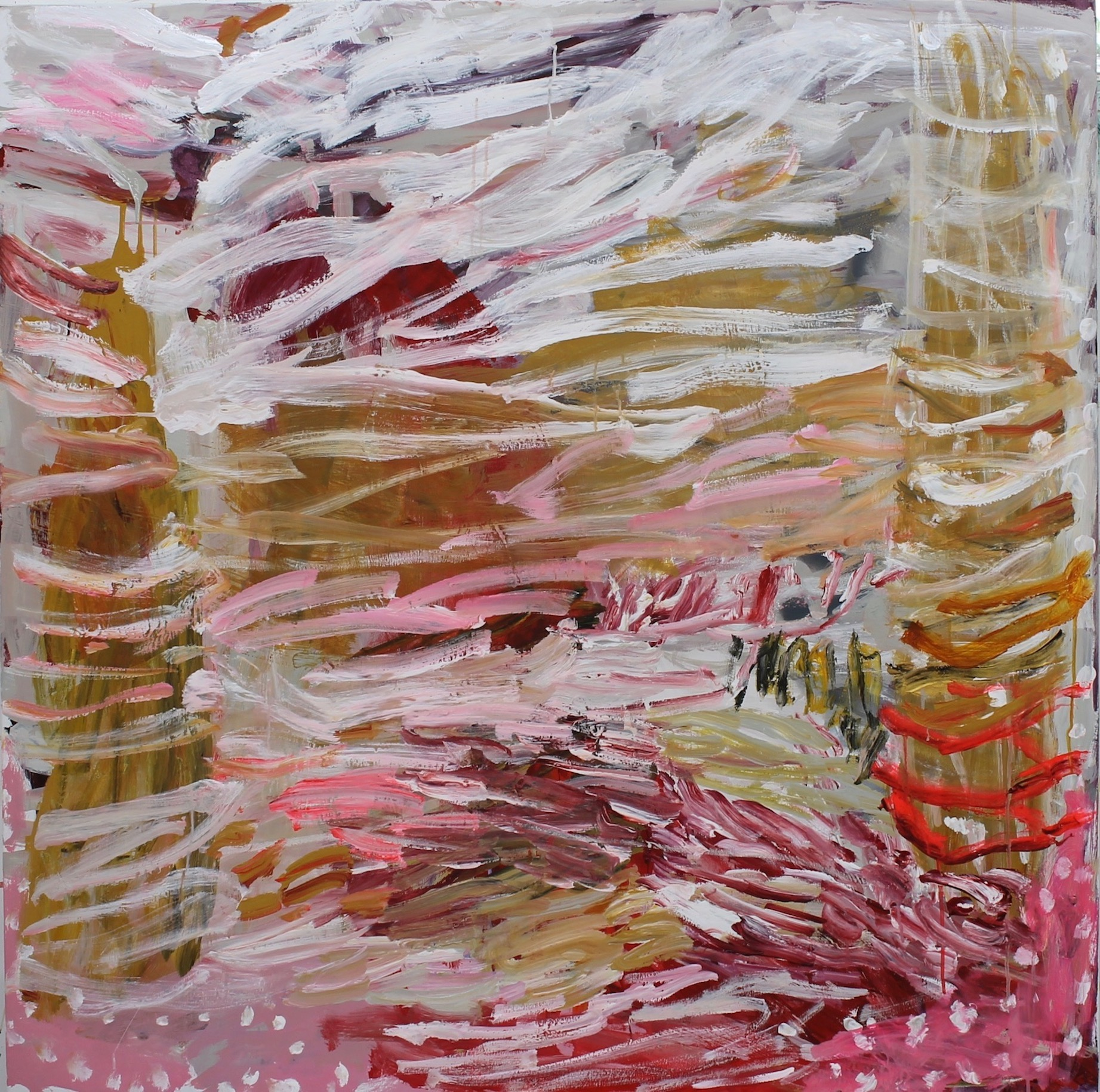 6. Eroded gully inverell 122x122cm polymers polyester by Catherine Cassidy